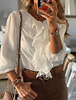 abordables -Tee-shirt Femme, Couleur Pleine Blanche