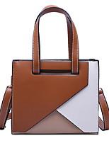 cheap -Women's Zipper PU Top Handle Bag Geometric Pattern Brown / Red