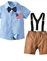 cheap -Kids Boys' Basic Birthday Party Party & Evening Black & White Print Print Short Sleeve Regular Regular Clothing Set Navy Blue
