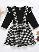 cheap -Baby Girls' Basic Plaid Long Sleeve Regular Clothing Set Black