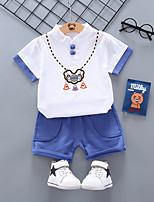 cheap -Kids Boys' Vintage School Daily Wear Geometric Embroidered Short Sleeve Regular Clothing Set Blue