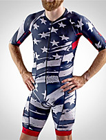 cheap -21Grams Men's Short Sleeve Triathlon Tri Suit Blue / White Stars National Flag Bike Clothing Suit UV Resistant Breathable Quick Dry Sweat-wicking Sports Stars Mountain Bike MTB Road Bike Cycling