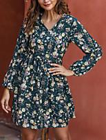 cheap -Women's / Ladies Date Street Trendy Bishop Sleeve Swing Dress - Floral Daisy, Printing Green S M L