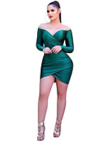 cheap -Women's Elegant Bodycon Dress - Solid Colored Green S M L XL