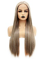 cheap -Synthetic Lace Front Wig Straight Gaga Middle Part Lace Front Wig Long Brown Synthetic Hair 22-26 inch Women's Heat Resistant Women Hot Sale Brown / Glueless
