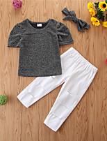 cheap -Toddler Girls' Basic Casual Solid Colored Short Sleeve Regular Regular Clothing Set Black