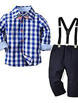 cheap -Kids Boys' Basic Christmas Home Print Cartoon Print Long Sleeve Regular Regular Clothing Set Blue