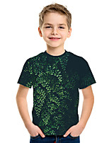 cheap -Kids Boys' Active Street chic Tropical Leaf 3D Print Short Sleeve Tee Green