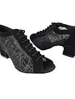 cheap -Women's Latin Shoes PU Heel Thick Heel Dance Shoes Black