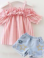 cheap -Kids Girls' Basic Striped Short Sleeve Clothing Set Blushing Pink
