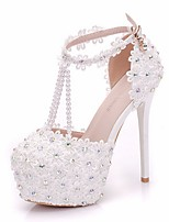 cheap -Women's Wedding Shoes Stiletto Heel Round Toe PU Spring & Summer White
