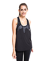 cheap -Women's Yoga Top T Back Solid Color Black White Dark Gray Gray Yoga Running Fitness Vest / Gilet Sleeveless Sport Activewear Breathable Moisture Wicking Quick Dry Micro-elastic Loose
