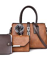 cheap -Women's Zipper PU Bag Set Solid Color 3 Pcs Purse Set Black / Brown / Purple
