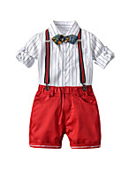 cheap -Kids Toddler Boys' Basic Birthday Party Party & Evening Black & White Striped Embroidered Print Half Sleeve Long Sleeve Regular Regular Clothing Set Red
