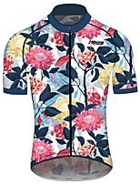 abordables -21Grams Homme Femme Manches Courtes Maillot Velo Cyclisme 100 % Polyester Rouge + bleu. Floral Botanique Cyclisme Maillot Hauts / Top VTT Vélo tout terrain Vélo Route Séchage rapide Des sports