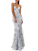 cheap -Mermaid / Trumpet Spaghetti Strap Floor Length Polyester Beautiful Back Formal Evening / Holiday Dress 2020 with Crystals