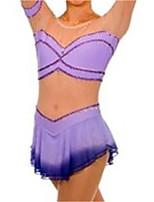 abordables -Robe de Patinage Artistique Femme Fille Patinage Robes Violet Mosaïque Spandex Haute élasticité Entraînement Compétition Tenue de Patinage Mosaïque Cristal / Stras Manches Courtes Patinage sur glace