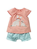 cheap -Kids Girls' Basic Solid Colored Short Sleeve Cotton Clothing Set Blushing Pink