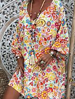 cheap -Women's Elegant Loose Dress - Geometric Black White S M L XL