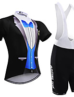 cheap -21Grams Men's Short Sleeve Cycling Jersey with Bib Shorts Black / Blue Geometic Bike Clothing Suit UV Resistant Breathable 3D Pad Quick Dry Reflective Strips Sports Solid Color Mountain Bike MTB Road