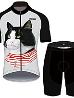 cheap -21Grams Men's Short Sleeve Cycling Jersey with Shorts Black / White Cat Animal Bike Clothing Suit UV Resistant Breathable 3D Pad Quick Dry Reflective Strips Sports Cat Mountain Bike MTB Road Bike