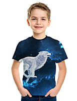 cheap -Kids Boys' Active Street chic 3D Animal Print Short Sleeve Tee Blue