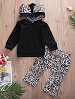 cheap -Baby Girls' Basic Leopard Long Sleeve Regular Clothing Set Black