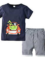 cheap -Kids Boys' Basic Christmas Home Print Cartoon Print Long Sleeve Regular Regular Clothing Set Navy Blue