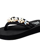 cheap -Women's Slippers & Flip-Flops Flat Heel Open Toe Rhinestone / Imitation Pearl Polyester Classic / Casual Walking Shoes Summer Black