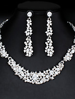cheap -Women's White Hoop Earrings Necklace Bridal Jewelry Sets Classic Stylish Basic Fashion Cute Imitation Diamond Earrings Jewelry Silver For Wedding Party Engagement Gift Two-piece Suit