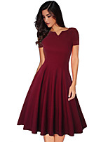 cheap -Audrey Hepburn Retro Vintage 1950s Wasp-Waisted Summer Dress Women's Costume Burgundy / Blue Vintage Cosplay Party Daily Wear Long Sleeve Knee Length