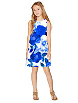 cheap -Kids Girls' Active Sweet Floral Print Sleeveless Knee-length Dress Blue