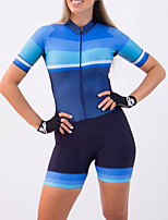 cheap -21Grams Women's Short Sleeve Triathlon Tri Suit Blue Patchwork Bike Clothing Suit UV Resistant Breathable Quick Dry Sweat-wicking Sports Patchwork Mountain Bike MTB Road Bike Cycling Clothing Apparel