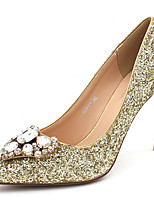 cheap -Women's Wedding Shoes Stiletto Heel Pointed Toe Beading / Sequin Synthetics Sweet / British Fall / Spring & Summer Black / Gold / Silver / Party & Evening