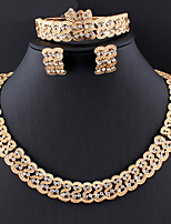 cheap -Women's Hoop Earrings Necklace Bridal Jewelry Sets Classic Stylish Basic Fashion Earrings Jewelry Gold For Wedding Party Engagement Five-piece Suit