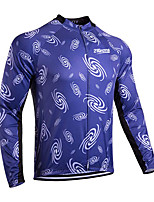 cheap -21Grams Men's Long Sleeve Cycling Jersey Winter 100% Polyester Blue Bike Jersey Top Mountain Bike MTB Road Bike Cycling Thermal / Warm UV Resistant Breathable Sports Clothing Apparel / Stretchy
