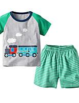 cheap -Kids Boys' Basic Christmas Home Print Cartoon Print Short Sleeve Regular Regular Clothing Set Light gray