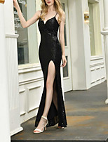 cheap -Mermaid / Trumpet Spaghetti Strap Floor Length Polyester Elegant Formal Evening / Party Wear Dress 2020 with Sequin / Split