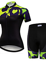 cheap -21Grams Women's Short Sleeve Cycling Jersey with Shorts Black / Green Patchwork Bike Clothing Suit Breathable Quick Dry Ultraviolet Resistant Sweat-wicking Sports Patchwork Mountain Bike MTB Road