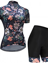 cheap -21Grams Women's Short Sleeve Cycling Jersey with Shorts Winter Black / Green Floral Botanical Bike Clothing Suit UV Resistant Breathable 3D Pad Quick Dry Reflective Strips Sports Solid Color Mountain