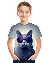 cheap -Kids Boys' Active Street chic Cat 3D Animal Print Short Sleeve Tee Gray