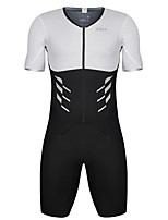 cheap -21Grams Men's Short Sleeve Triathlon Tri Suit Black / White Patchwork Bike Clothing Suit UV Resistant Breathable Quick Dry Sweat-wicking Sports Patchwork Mountain Bike MTB Road Bike Cycling Clothing