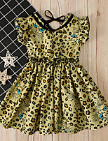 cheap -Kids Girls' Leopard Dress Yellow
