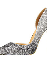 cheap -Women's Wedding Shoes Stiletto Heel Pointed Toe Sequin Synthetics Sweet / British Summer / Spring & Summer White / Gold / Silver / Party & Evening