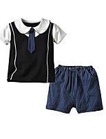 cheap -Kids Toddler Boys' Basic Birthday Party Party & Evening Black & White Print Print Short Sleeve Regular Regular Cotton Clothing Set Black