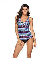 cheap -Women's Sporty Basic Blue Triangle Cheeky Tankini Swimwear Swimsuit - Color Block Print S M L Blue