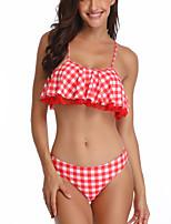 cheap -Women's Basic Red Triangle Cheeky Tankini Swimwear Swimsuit - Geometric Ruffle S M L Red