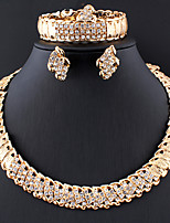 cheap -Women's Gold Hoop Earrings Necklace Bracelet Classic Flower Stylish Basic Africa Earrings Jewelry Gold For Wedding Party Engagement Four-piece Suit / Bridal Jewelry Sets / Open Ring