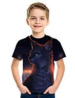 cheap -Kids Boys' Active Street chic Cat 3D Fox Print Short Sleeve Tee Navy Blue