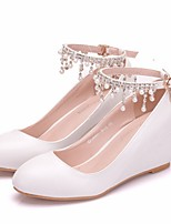 cheap -Women's Wedding Shoes Wedge Heel Round Toe PU Spring & Summer White